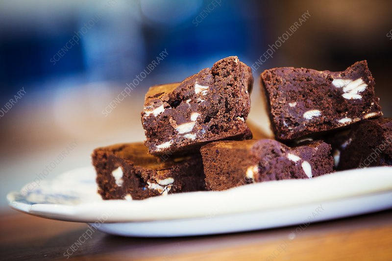 Close up of a plate of chocolate brownies