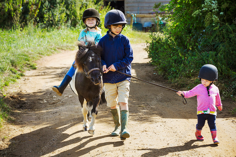 A boy, a toddler, and a girl riding a pony on a dirt path