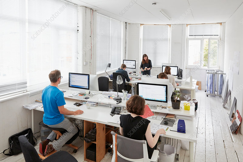 A modern office, workstations for staff