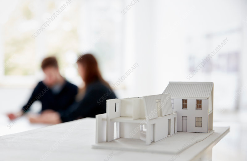 Architect's model of a building in an office