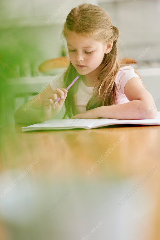 A girl seated at a table with a pencil, doing her homework