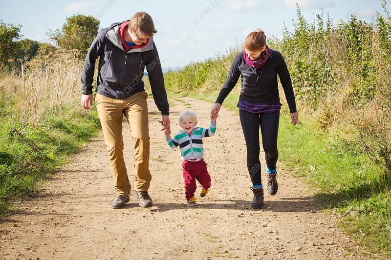Parents and a child walking along a footpath in the country
