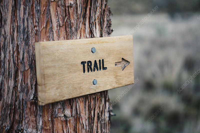 A wooden sign at a National Monument, Oregon