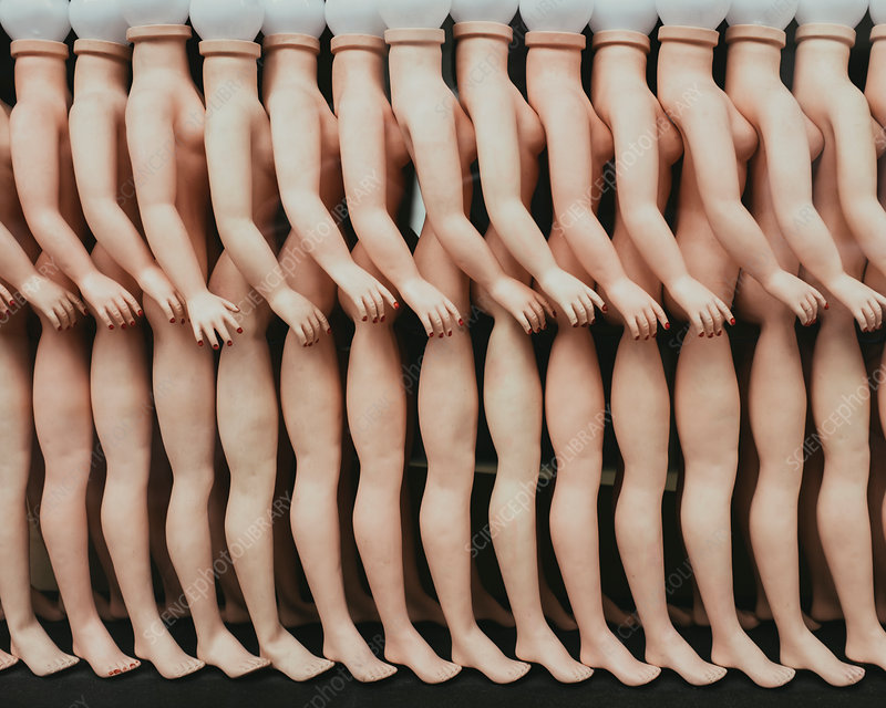 Row of female mannequins in a store window in Paris