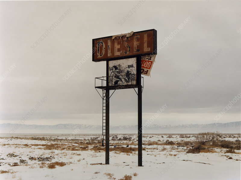 A sign in the desert landscape, Diesel