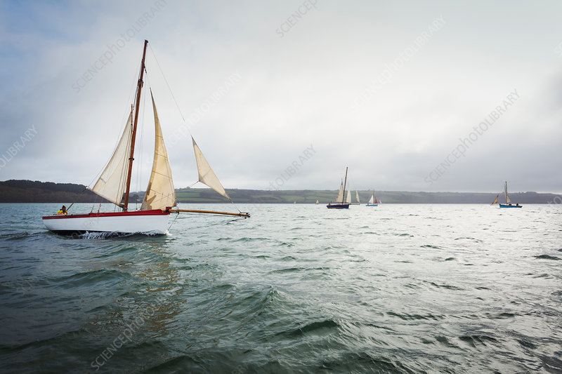 A traditional sailing boat on the River Fal in the estuary