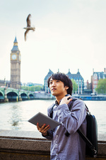 Young Japanese man enjoying a day out in London