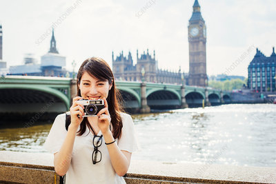 Young Japanese woman enjoying a day out in London
