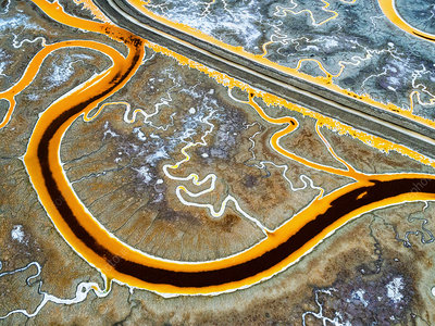 Salt Flats aerial view, a winding road and water channels