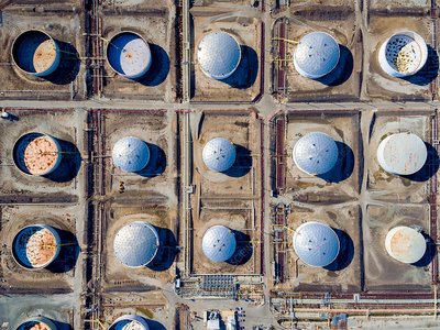 Aerial view of oil tanks in a grid pattern at Torrance