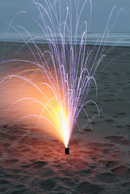 Fireworks over the beach at Long Beach Peninsula, USA