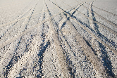 Tire tracks on playa, Black Rock Desert, Nevada, USA