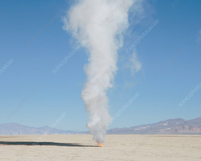 Smoke and flames from destroyed rocket, Nevada, USA