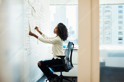 A woman sitting in an office arranging notes on whiteboard