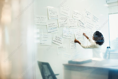 A woman standing in an office pinning notes on a board