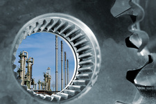Oil refinery seen through industrial gears