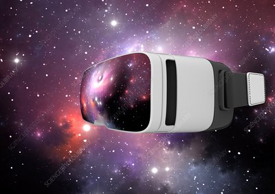 Virtual reality headset in science, illustration