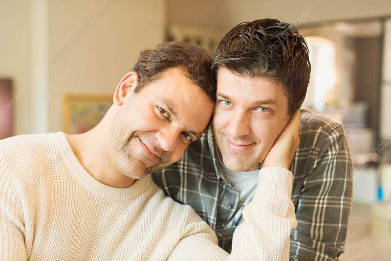 Portrait affectionate male gay couple