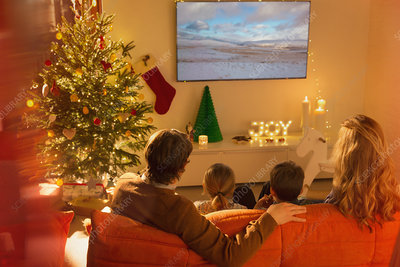 Family watching TV in Christmas living room