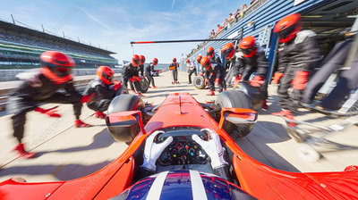 Pit crew ready for formula one race car