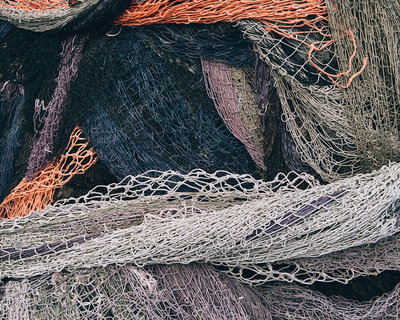 Pile of tangled up commercial fishing nets