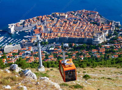 Cable car view of Dubrovnik on the Adriatic Sea, Croatia