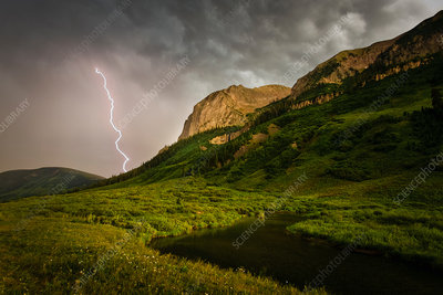 A lightning storm, Fork of lightening from clouds