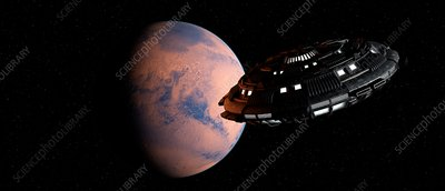 Planet and space craft, illustration