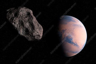 Planet and asteroid in space, illustration