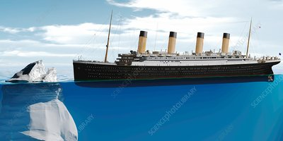 Ocean liner approaching iceberg, illustration