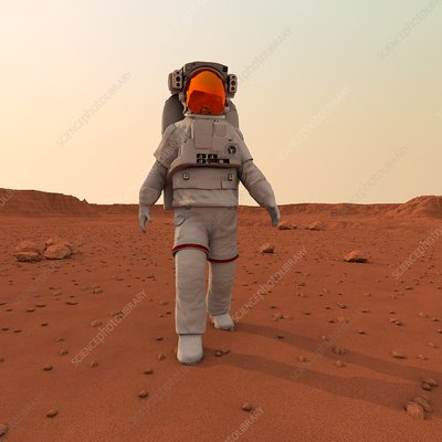 Astronaut walking on planet, illustration