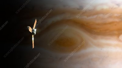 Juno Spacecraft above Great Red Spot, illustration