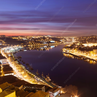 Porto skyline lit up at night
