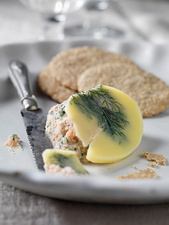 Plate of salmon pate with crackers
