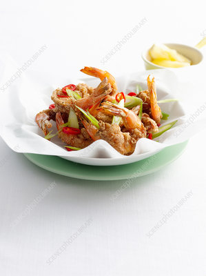 Bowl of prawns and vegetables