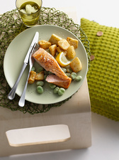 Plate of fish, potatoes and lima beans