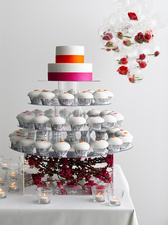 Display with frosted cupcakes and cake