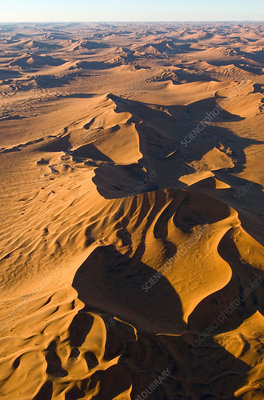 Aerial view of sand dunes in desert
