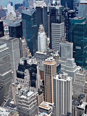 Aerial view of New York skyscrapers