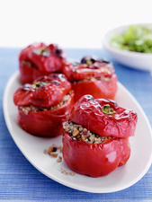 Plate of stuffed roasted peppers