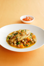 Bowl of chicken with chickpeas