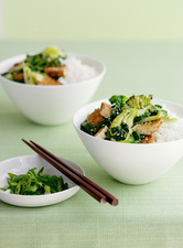 Bowl of rice with broccolini