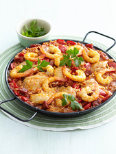 Dish of chicken and shrimp paella