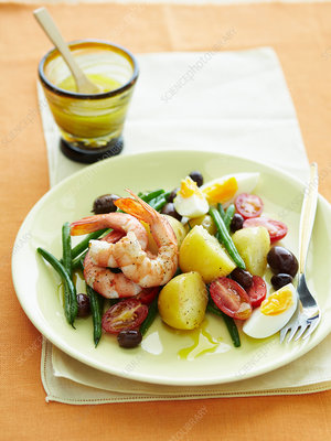 Plate of prawn and vegetables