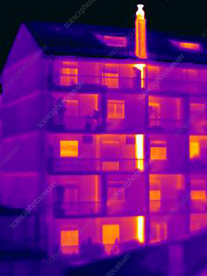 Thermal image of apartment chimney