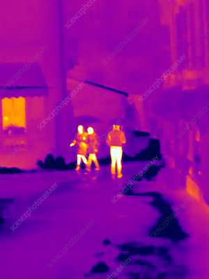 Thermal image of people on street