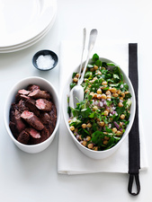 Bowl of chickpea salad with lamb