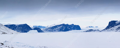 Mountains in snowy landscape