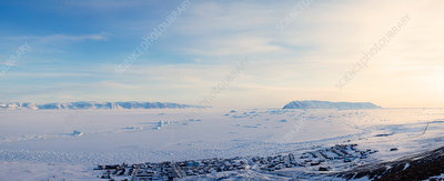 Flat plains in snowy landscape