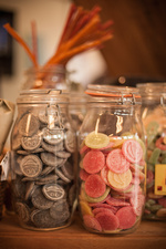 Close up of jars of candies